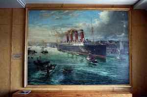 Mauretania leaving Tyne, 1907